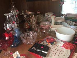 oil lamps, Pyrex bowl, miscellaneous glassware