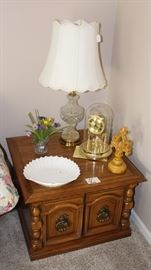 End table with lamp and misc.