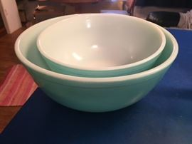 Pyrex Turquoise Mixing Bowls.