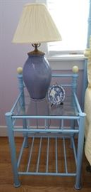 periwinkle ginger jar lamp with shade on bedside table matching QS bed. (One of a pair)