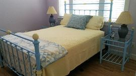 Bed, Queen Size Iron Bed Blue and Yellow  Mattress and Box Spring
