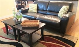 Black leather sofa pair of matching coffee tables  another view