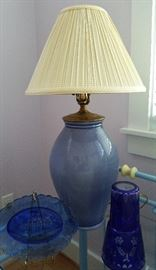 Blue ceramic ginger jar lamp yellow check shade and accessories