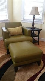 green chair and ottoman different view