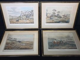 Alloin Hunting Etchings Antique