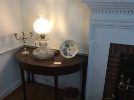 """Cut Glass """"Gone With the Wind"""" Style Lamp"""