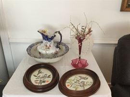 Pair of Walnut Picture Frames, Bowl and Picture Set