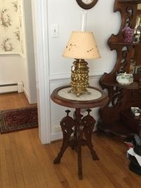 Brass Lamp and Round Marble Top Table