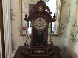 Walnut Clock with Cherubs