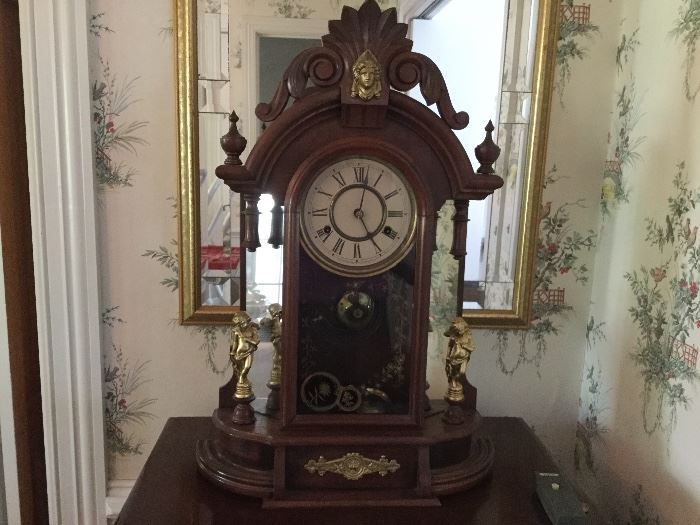 Walnut Clock with Cherubs