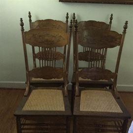 Oak Cane Bottom Chairs