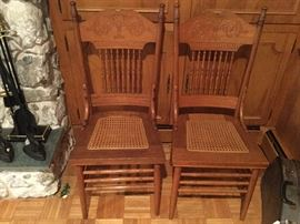 6 Oak Caned Bottom Chairs