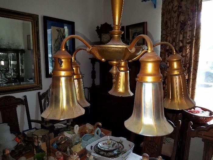 Art glass chandelier.