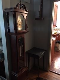 One grandfather clock, two regulator clocks available.  Great antique clock case also available, but will need works