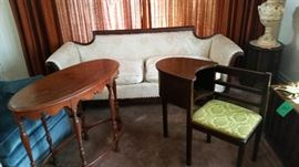 vintage sofa, table  gossip chair