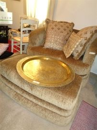 large oversized chair, brass tray