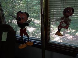 vintage mickey & Minnie marionette puppets