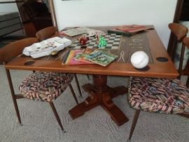"""game table w/4 vintage chairs from the 60""""s"""