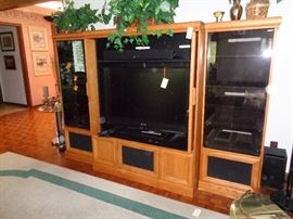 entertainment center, stereo components & flat screen