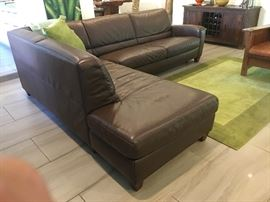 Contemporary Leather Sleeper Sectional Sofa - Comfortable, practical and good-looking piece in chocolate brown. Excellent condition, like new. $1,500