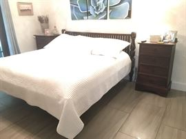 Rustic Bedroom King Set - They don't make them like this anymore! Bed frame and two matching nightstands. Dark brown finish. Mattress not included. $350