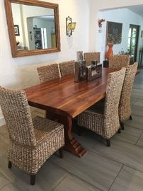 """Solid Wood Dining Table and 8 Chairs - Gorgeous table with unique touches that truly make it special. It's 91"""" in length and can sit up to 12. Chairs complement it beautifully. $2,000 for table and 8 chairs."""