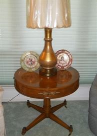 drum table, beautiful large gold metal lamp w/shade, Nippon portrait plates, etc.