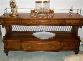 large server w/6 drawers, Anniversary clock, gold trimmed punch bowl set, etc.