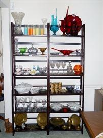 crystal, retro glassware, art glass, elegant glass, brass, etc.
