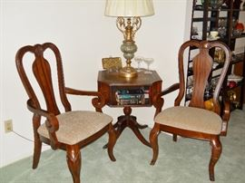 Legacy Classic arm chairs, leather top table w/book cubbies, heavy decorative lamp and shade