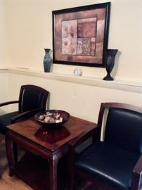 Wooden chairs, end table and home decor