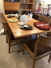 Solid wood dining table #2 with wood chairs and matching buffet