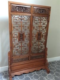 Asian panels in custom floor stand