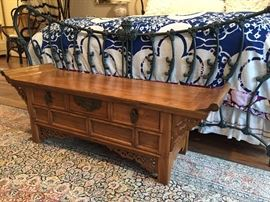 Asian Bench - Antique (also view of King Iron Bed - footboard)