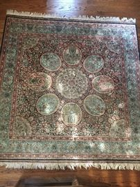 "Chinese SILK area rug - square 6'2"" with fringe (on 2 sides) adding three inches - EXCELLENT condition"