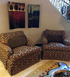 2 Matching Lounge Chairs in Floral Pattern w Back Pillow in Diamond w Looped Fringe  (Upgraded cushion to spring plush)