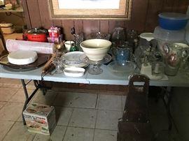 Glassware, Bowls, Pitchers, Plastic Pieces