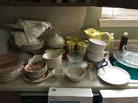Plates, Bowls, Pitchers with glasses