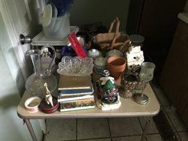 Books, Glassware, Wooden Bowl