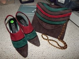 Gorgeous Suede Handbag and Mules - Size 8