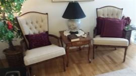 Nice cane sided side chairs with very clean upholstery