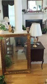 Beautiful wooden mirror, small display cabinet with drawers and lamps plus some fenton.