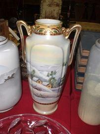 """12"""" scenic Nippon vase"""
