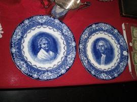 Royal Doulton flow blue George & Martha Washington plates