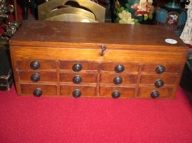 oak 9 drawer traveling apothecary case with lift top divided storage compartment