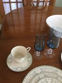 Fostoria Crystal glassware purchased in 1973.  The pattern is Distinction Light Blue.  Includes 12 water glasses, 12 wine glasses, and 12 sherberts.  All are in excellent condition with no chips.