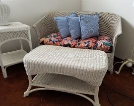Antique Wicker Loveseat Table Side Table and Lamp