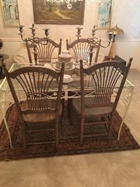 Glass and Iron Table, 4 Wood Ornate chairs