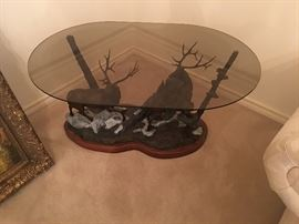 Ron Herron Bronze Elks Base Coffee table with glass
