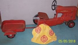 McCormick Farmall Pedal tractor, wagon and umbrella top (Not included in daily discounts)